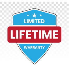 Limited lifetime warranty seal or stamp - flat vector