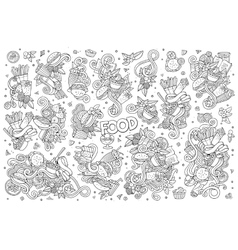 Line art hand drawn doodles cartoon set of vector