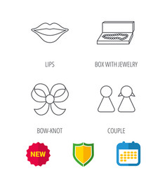 Lips box with jewelry and couple icons vector