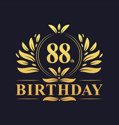 Luxury 88th birthday logo 88 years celebration vector