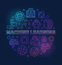 machine learning round colored outline vector image
