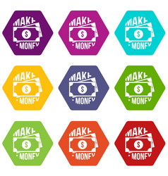 make money icons set 9 vector image