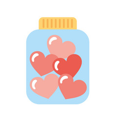 Mason jar bottle with hearts vector