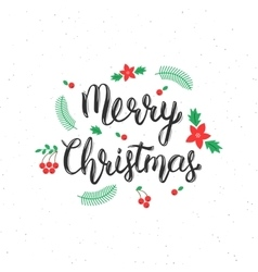 Merry Christmas brush lettering inscription with vector image