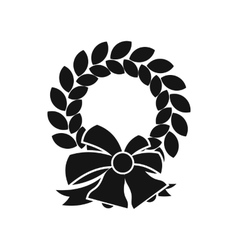 Merry Christmas wreath icon simple style vector image