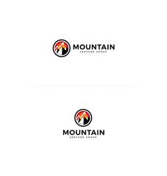mountain icon circle shape with mountain logo vector image