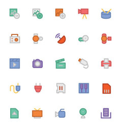 Multimedia Colored Icons 6 vector