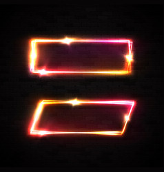 neon frame on black brick wall marquee sign vector image