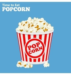 paper bag full of popcorn vector image vector image