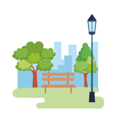 Park landscape with lantern and chair scene vector
