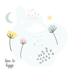 Pastel collage greeting card in scandinavian style vector