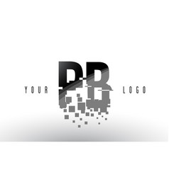 Pb p b pixel letter logo with digital shattered vector