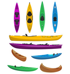 Plastic colorful kayaks isolated set vector