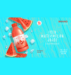 promo web banner with iced watermelon juice vector image