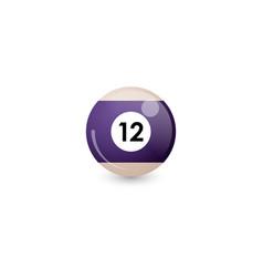 Purple red billiard ball number 12 vector