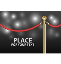 Red velvet rope barrier close-up with flash light vector