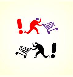 running man pushing shopping cart icon shopping vector image