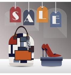 SALE hanging tags with trendy purse and high heel vector image