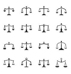 Scales icons balance antique libra set vector