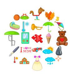 schoolkid icons set cartoon style vector image