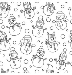 Seamless pattern with cute christmas snowmen vector