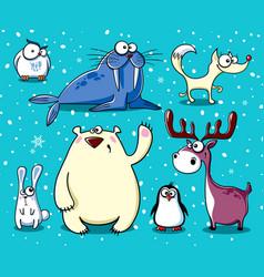 Set isolated funny polar animals vector