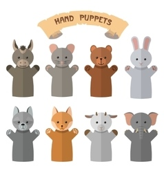 Set of hand puppets in flat style Doll vector