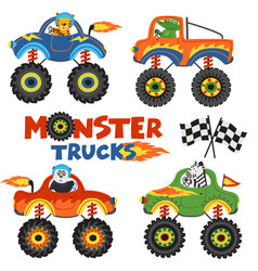 Set of isolated monster trucks with animals part 1 vector