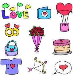 Set of love doodles design vector image