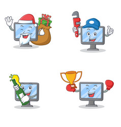 set of monitor character with santa gift plumber vector image