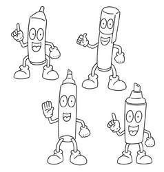 set of pen cartoon vector image