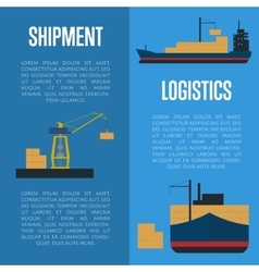 Shipment and logistics banner set with cargo ship vector image