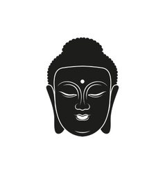 simple black buddha head icon style vector image
