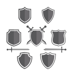 Simple shields badges design retro design vector