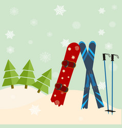 skis and snowboard stick out of snow before a vector image