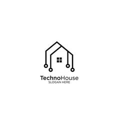 Smart house logo design with monoline style vector