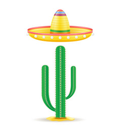 Sombrero national mexican headdress and cactus vector