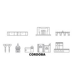 Spain cordoba line travel skyline set spain vector