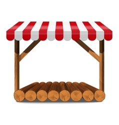 Street stall with red awning and wooden rack vector
