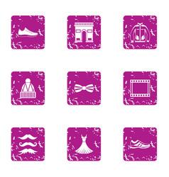 stylish attitude icons set grunge style vector image