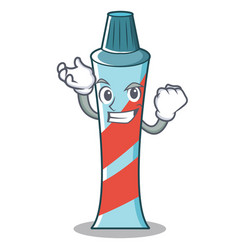 Successful toothpaste character cartoon style vector