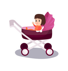 sweet little girl sitting in a purple modern baby vector image