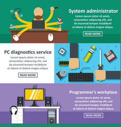 System admin banner horizontal set flat style vector