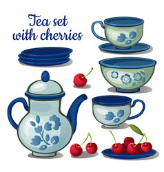 tea set and ripe cherry isolated on a white vector image