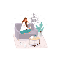 tea time flat banner template vector image