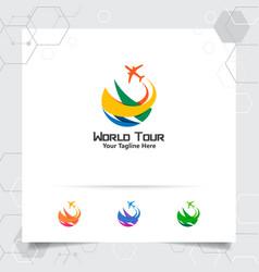 Travel logo design concept airplane icon with vector