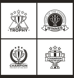trophies for champions and winners monochrome set vector image