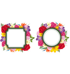 two frame templates with colorful flowers vector image