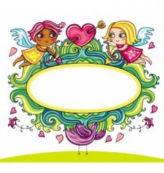 valentine frame 3 vector image