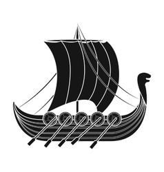 Viking s ship icon in black style isolated on vector